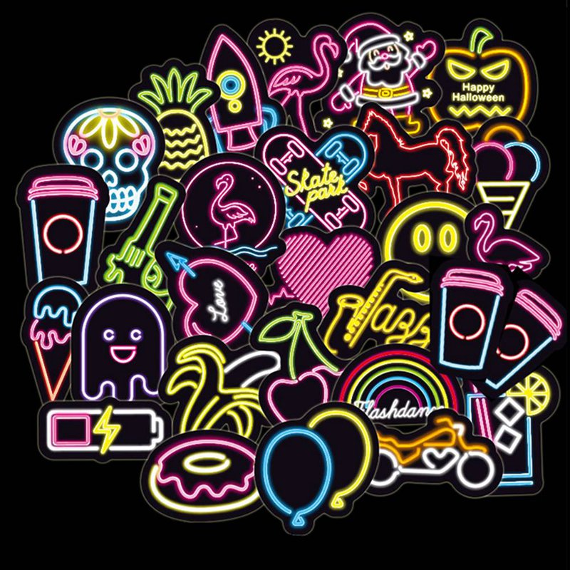 100pcs/lot Cartoon Colorful Led Style Funny Stickers For Laptop Suitcase Computer Phone Skateboard Pad Decal Stationery Stickers