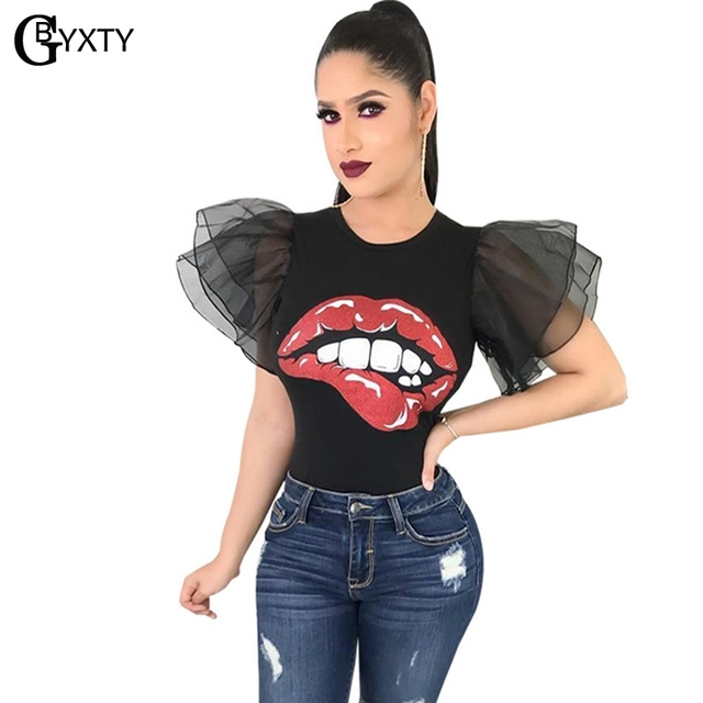 5860d94478565 GBYXTY Harajuku Red Lips Women Summer T-Shirt Fashion Butterfly Sleeve  Fitness Tee Shirt Casual Bts Tops camisetas mujer ZA402