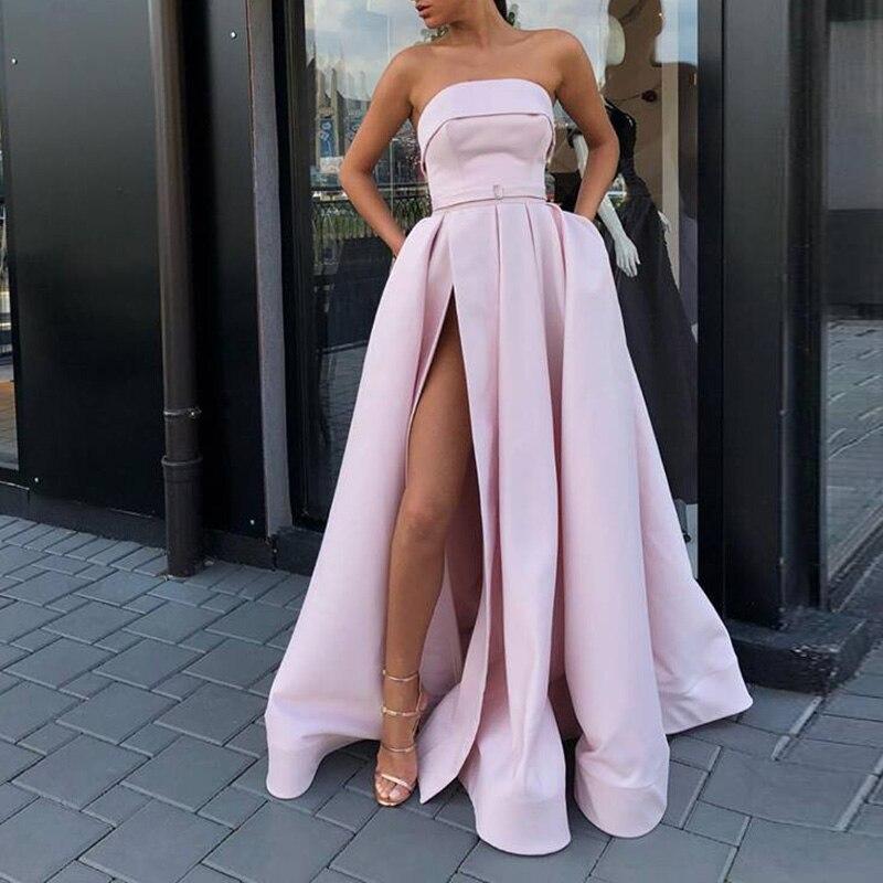 Sweetheart Vestido De Festa   Evening     Dress   Long 2019 Formal   Dress   Women Elegant Satin Side Slit Party   Dresses     Evening   Gown