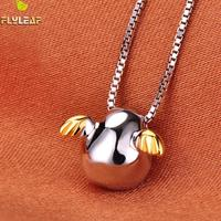 925 Sterling Silver Angel Egg Necklaces Pendants For Women Cute Girl Prevent Allergy Sterling Silver Jewelry