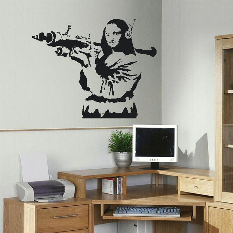 LARGE BANKSY WALL STICKER MONA LISA BAZOOKA ART TRANSFER FUNNY WALL STICKER ROOM STICKER
