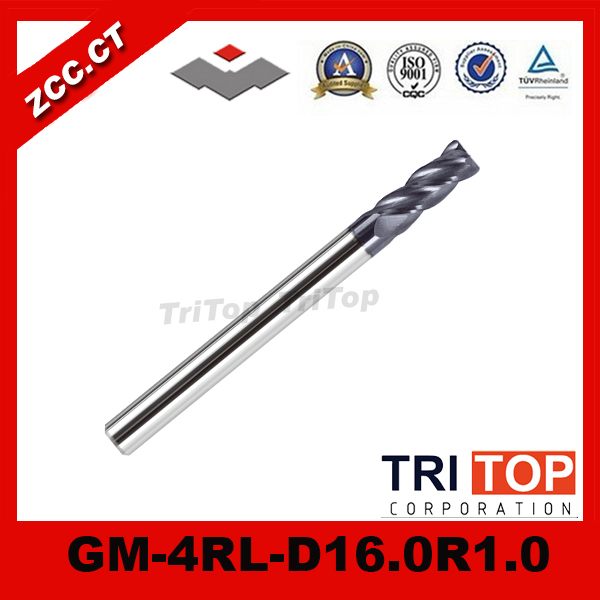 ZCC.CT  GM-4RL-D16.0R1.0  high quality 4-flute Carbide Corner Radius End Mills with long straight shank