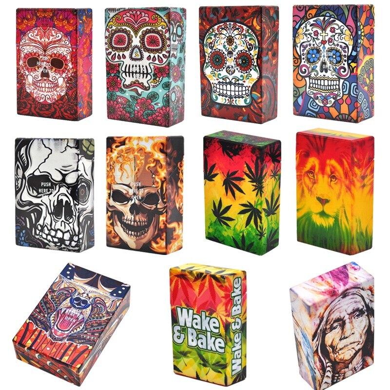 Fancy Design Skull Plastic Soft Portable Cigarette Cases For 20 Cigarette Accessories Men Women Gift Lighters Case Tobacco Box