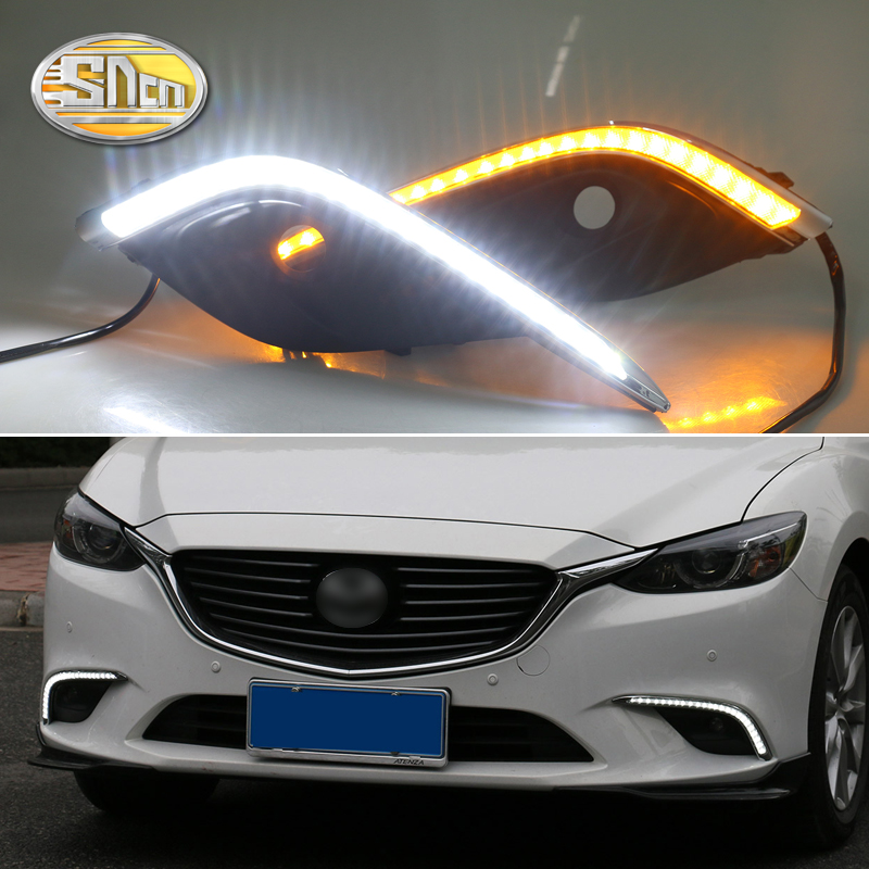 For Mazda 6 Mazda6 2016 2017,Yellow Turning Signal Relay Waterproof Car DRL 12V LED Daytime Running Light Fog Lamp Hole SNCN led 12v turning signal light drl daytime running light for mazda 6 2013 2014 waterproof abs fog lamp decoration