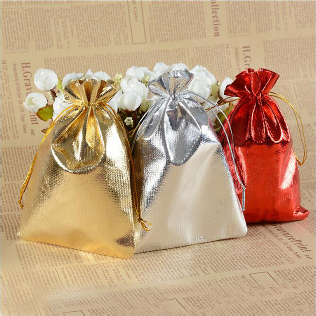 100pcs Silver And Gold Red Color Metallic Foil Organza Pouches Christmas Wedding Party Favour Gifts Candy