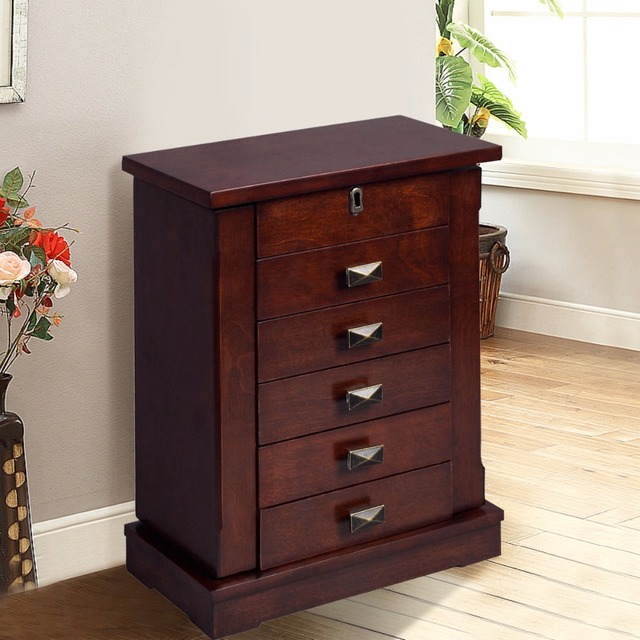 Goplus Jewelry Armoire Cabinet Box Storage Chest Stand Necklaces Organizer Wood Nightstand With 5 Drawers And