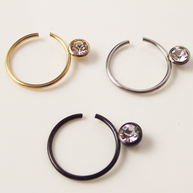 2Piece 10mm Medical 316L Surgical Stainless Steel Big Stone Nose ...