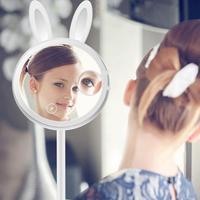 Di alta Qualità di Modo LED Illuminato Coniglio Specchio Per Il Trucco Dimmer Stage Lampada Da Tavolo Tocco di Bellezza