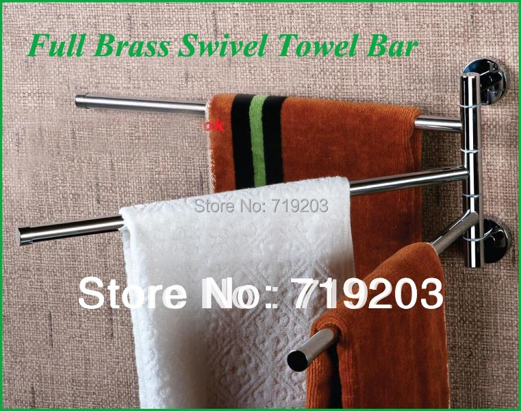 ФОТО Free Shipping  Full Copper Chromed Swivel Towel Bars Towel Rack  Top Sales Easy Installation Bathroom Accessories Towel Holder