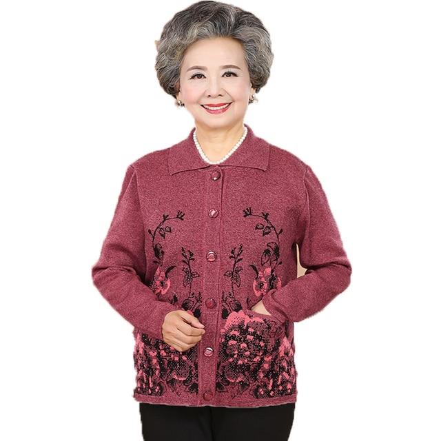 e4f9805add Elderly Women Cardigans Sweaters Flower Sequined Knitted Top Grandma Mother  Cashmere Woollen Blends Cardigan Sweater Knitwear XL