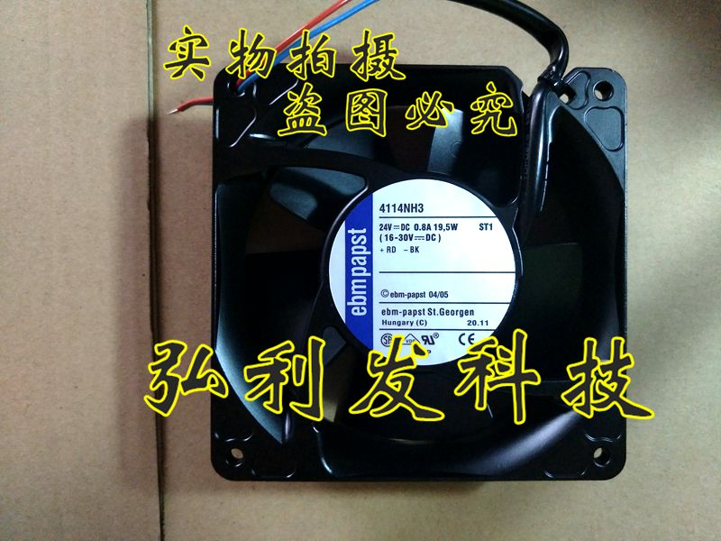 ebm papst 4114NH3 Server Square Fan DC 24V 19.5W 119X119X38mm 2-wire ebm papst 4800z 4800 z ac 115v 0 16a 0 14a 13w 12w 120x120x38mm server square fan