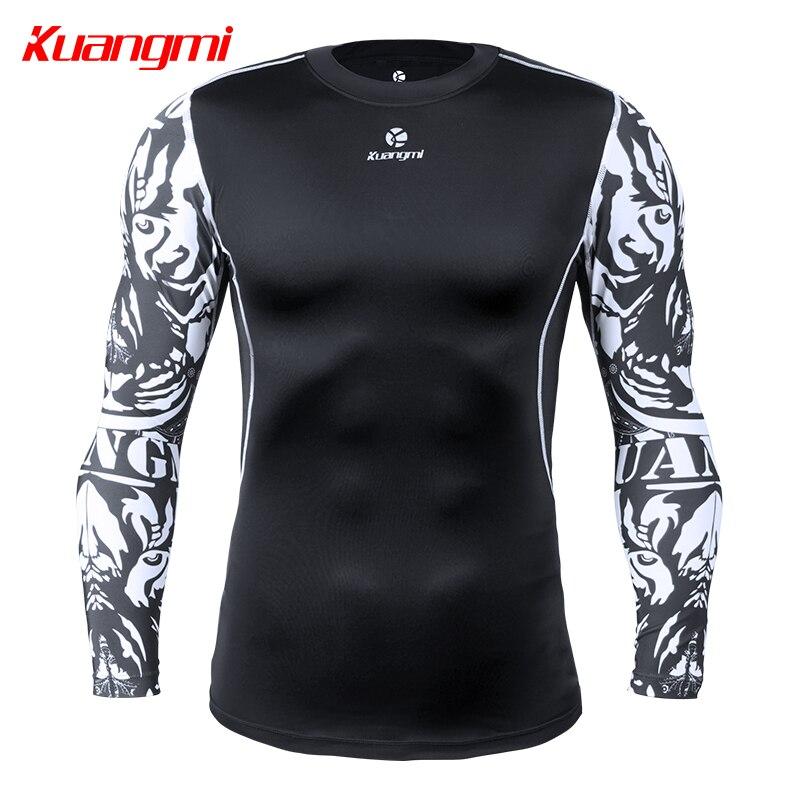 Kuangmi Sport hommes T-shirt séchage rapide à manches longues haut Sportswear hommes Fitness en plein air course alpiniste vêtements chemise d'entraînement