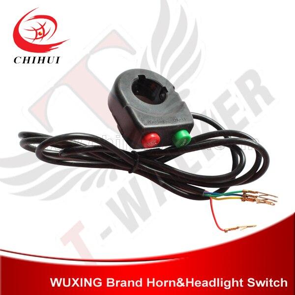 Vysoce kvalitní elektrický skútr Horn a světla Spínač Dual Function Switch s drátem 1350 mm (části a příslušenství skútrů)