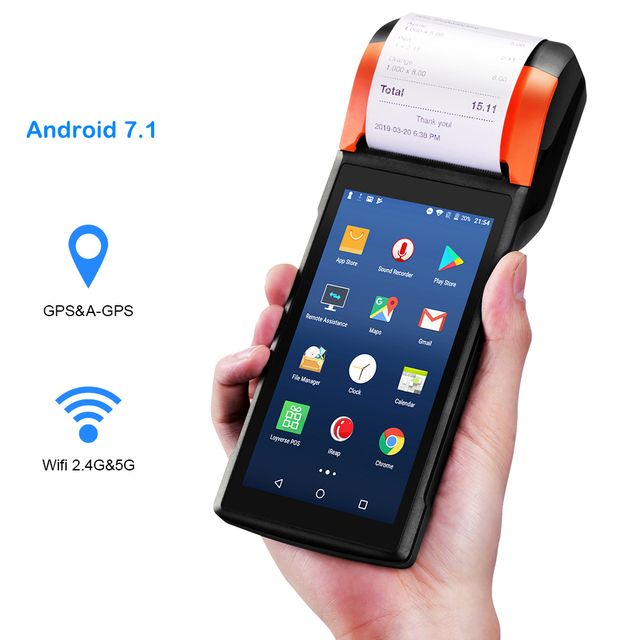 Sunmi V2 Android 7.1 PDA Speaker Thermal Receipt Printer 4G WiFi Camera Scanner eSim Card Slot Mobile Payment Order POS Terminal