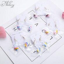 Netury Women brand kawaii Korea dangle earrings cotton candy romantic crystal funny gold colorful cute earrings college jewelry