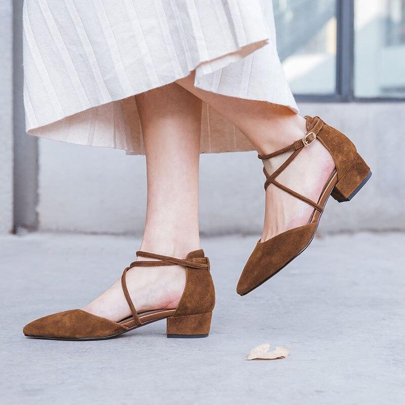 À 2019 D826 Des Noir Bout Simples Doux Bas Brun rose Femmes Chaussures Été Casual De Peau Talons Rose marron Mouton Creux Noir Pointu En Avec U1OnqO5wf
