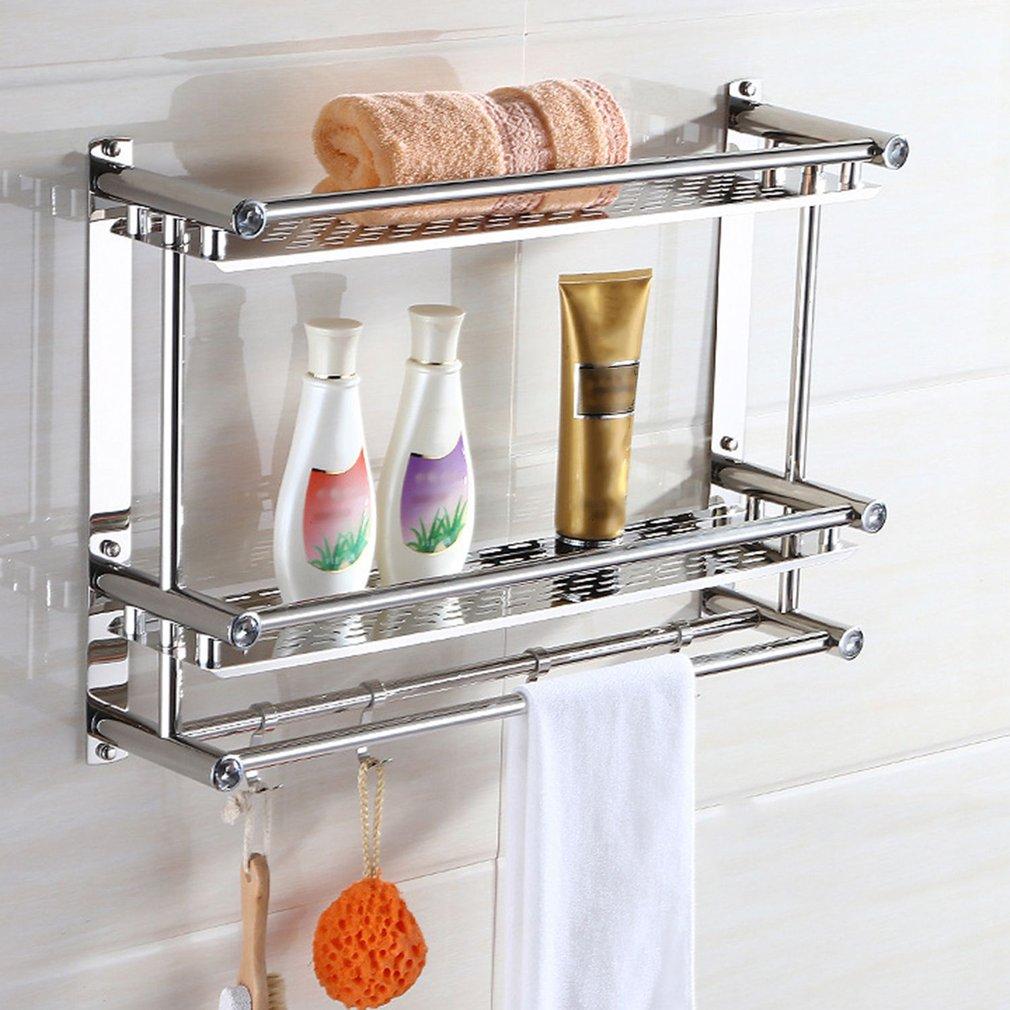 Bath Towel Shelf Rack Bathroom Holder Double With Hooks Anti rust ...