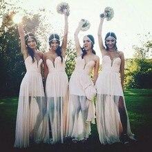 Cheap Prom Gowns Sweetheart Vestido De Festa De Casamento See Through Chiffon Long Bridesmaid Dresses 2016