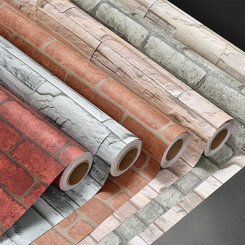 Self Adhesive Wall Paper Brick Thicken Pvc Stone Wallpapers Pvc