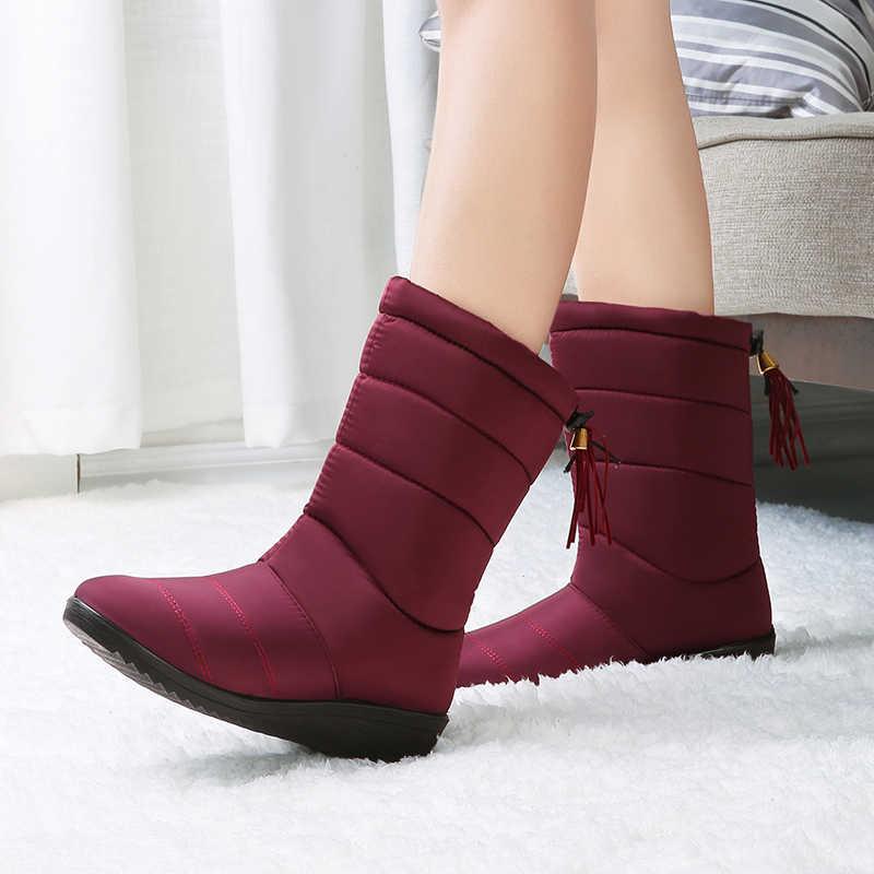 รองเท้าบู๊ตหิมะฤดูหนาวรองเท้าผู้หญิงหญิงกลางลูกวัวลงฤดูหนาวรองเท้าผู้หญิง Plush พื้นรองเท้า Botas ผู้หญิงกันน้ำหญิง