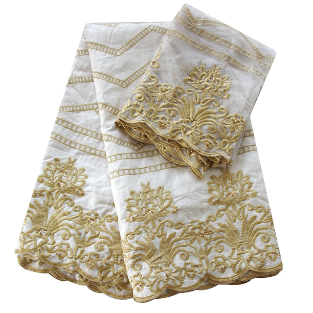 Ourwin bazin riche fabric white gold embroidered nigerian beaded ...