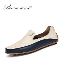 BIMUDUIYU Brand Summer Causal Shoes Men Loafers Breathable Holes Luxury Flat Shoes High Quality Leather Moccasins Driving Shoes