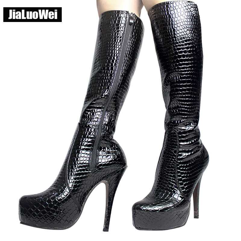 jialuowei Sexy Fetish Serpentine Pattern Shoes Woman 15cm High Heel Side Zipper Boots Platform Pointed Toe Knee-high Boots  jialuowei Sexy Fetish Serpentine Pattern Shoes Woman 15cm High Heel Side Zipper Boots Platform Pointed Toe Knee-high Boots