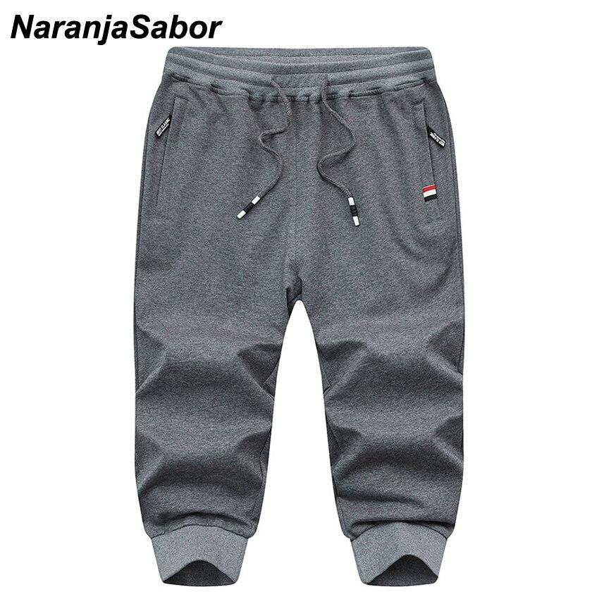 NaranjaSabor Summer Men's Capri Shorts Casual Mens Beach Shorts Male Trousers Homme Brand Clothing Loose Straight Shorts 4XL