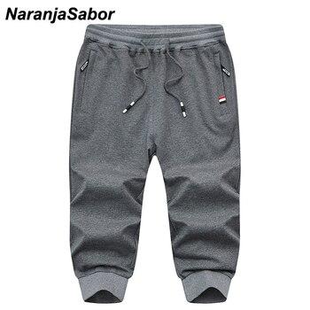 57dc2a8bf9 NaranjaSabor verano hombres Capri pantalones cortos Casual hombres playa  pantalones hombres marca ropa holgada pantalones cortos rectos 4XL