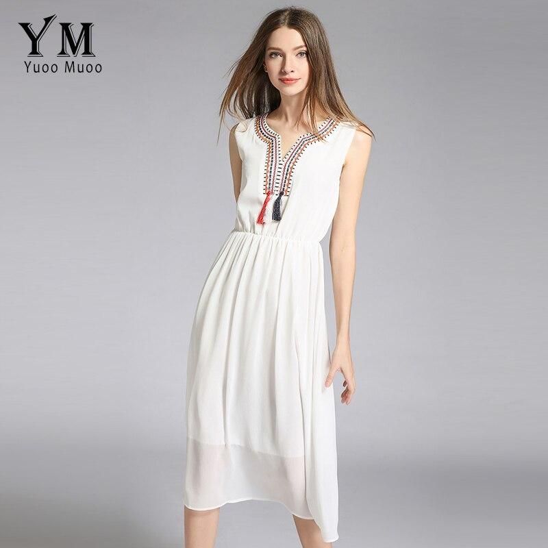 20fdb67676585 Big Sale YuooMuoo Embroidery V neck Solid Summer Dress Women ...