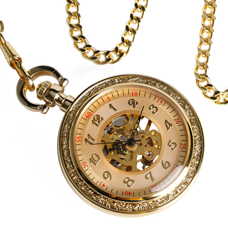 Luxury Gold Gear Open Face Skeleton Mechanical Hand Winding Pocket Watch Antique Pendant With Chain Men Women Relogio De Bolso automatic mechanical pocket watches vintage transparent skeleton open face design fob watch pocket chain male reloj de bolso