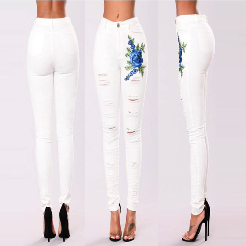 White Ripped hole fashion Jeans Women high Waist skinny pencil Denim Pants Elastic Stretch embroidery sexy Jeans street wear
