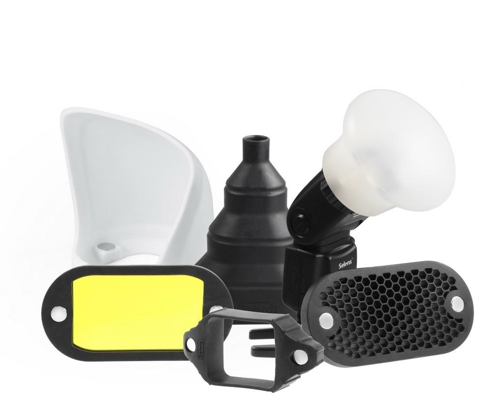 Selens Magnétique Flash Accessoires Kit 7 Couleur Filtres des Grilles En Nid D'abeille Sphère Rebond Snoot Éclairage Modificateur pour Speedlite