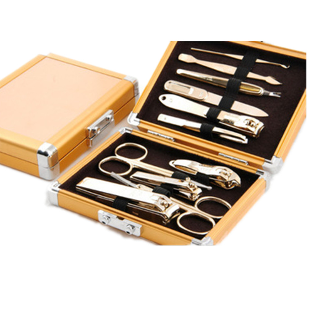 2017 Fashion Latest Gold Nail Scissors Set 11 In 1 Trim Dead Skin Cuticle Business Gifts Gold Nail Scissors Nail Tool Suite