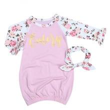 95ff0df4ad 2pcs Baby Sleep Gown Newborn Sleepwear Robes Infant Girls Pink Printed Long  Sleeve Sleeper Gown+Headband Baby Pajamas Clothes