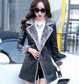 Un nuevo abrigo de piel de cuero de piel de oveja mujer delgados del invierno rompevientos abrigo largo de cuero