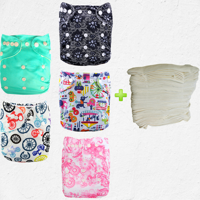 Cuties Printed Prefolds Reusable Best 5pcs Baby Cloth Diapers With