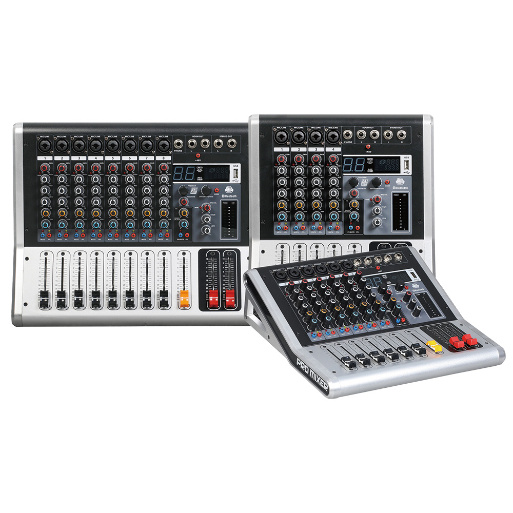Mixing console recorder 48 V phantom power monitor AUX effect path 4 8 channel audio mixer