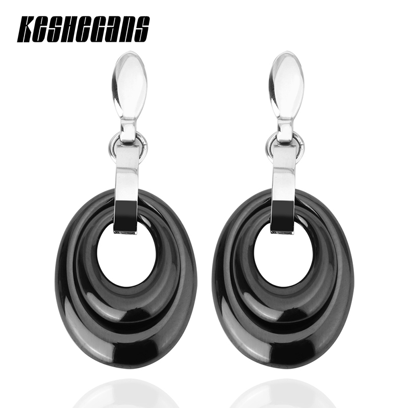 Double Drop Water Earrings Black White Ceramic For Women Round Drop Earrings Vintage Statement Women Fashion Party Jewelry Gifts pair of chic rhinestoned water drop earrings for women