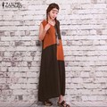 ZANZEA Women 2016 Summer Casual Loose Vintage Dress Sexy Sleeveless Splice Cotton Linen Long Maxi Retro Dress Vestidos Plus Size