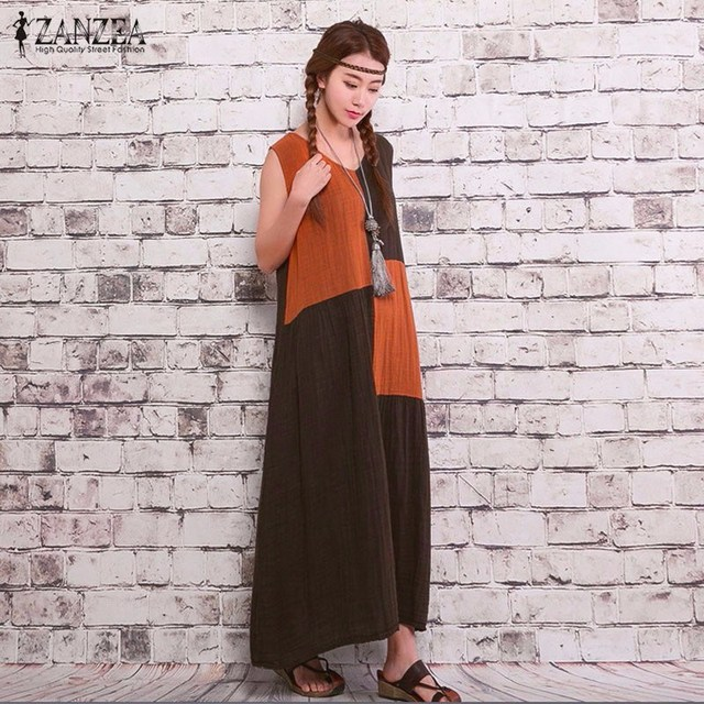 ZANZEA Women 2016 Summer Casual Loose Vintage Dress Sexy Sleeveless Splice Cotton Linen Long Maxi Retro Dress Vestidos Plus Size