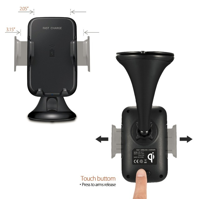 Multi-Funtion Qi Wireless Car Charger Phone Mount Holder Fast Charging For Samsung Galaxy Note5 S6 S7 S8 Edge Plus iPhone8 Plus