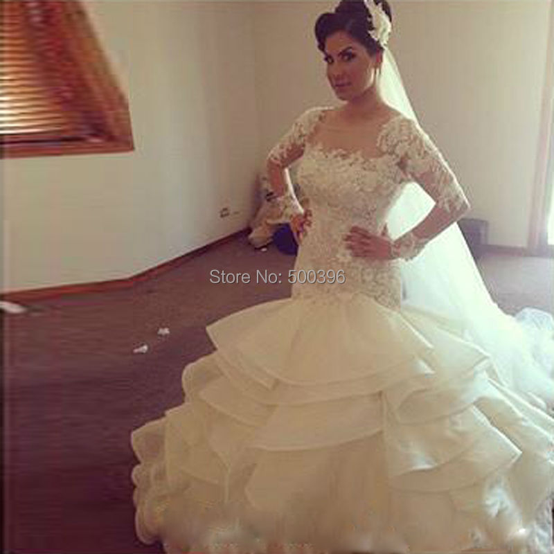 Graceful Mermaid Long Sleeves Wedding Dress 2016 casamento Lace ...