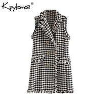 Vintage Zweireiher Ausgefranste Tweed Mini Kleid Frauen 2019 Mode Revers Kragen Ärmelloses Plaid Kleider Casual Vestidos Mujer