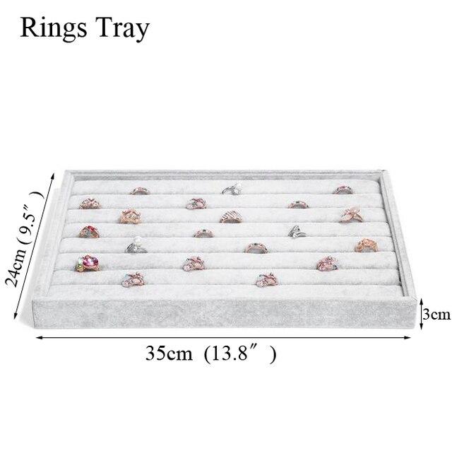 Fashion Ice Grey Velvet Jewelry Tray Jewelllery Storage Box Watch Holder 4