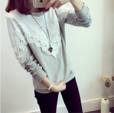 lace woman t-shirt plus size Korean style lace patchwork o-neck long sleeve causal slim bottoming female t-shirt Tees 4