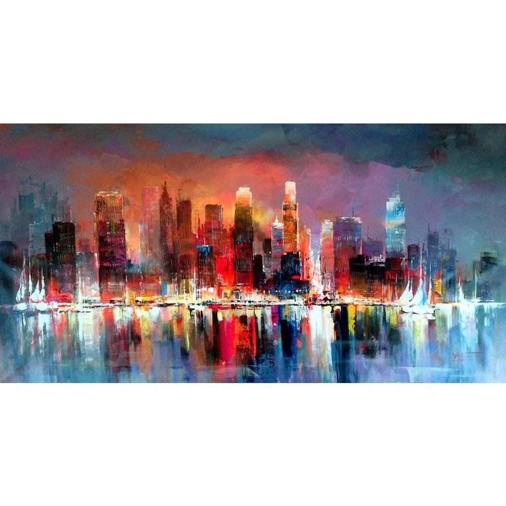 City New York Oil Painting On Canvas Wall Art For Living: Contemporary Art Abstract Landscape Paintings City Scapes