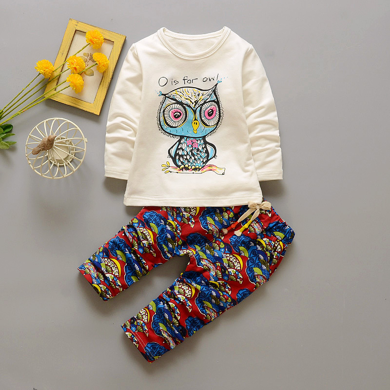 2017 NEW Suit Costume Children's Sets Baby Fashion Cartoon Animal T-shirt Long Sleeve + Pants Toddler Boy Kids Wear
