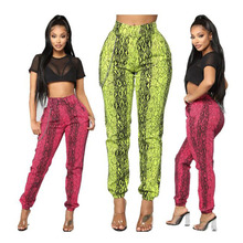 women fashion snake skin print long pants camouflage harem pants  party club flare pants casual elastic waist trousers 2019 ethnic snake pattern print flare pants women bohemian tribal african print long trousers bell bottom leggings hippie pants
