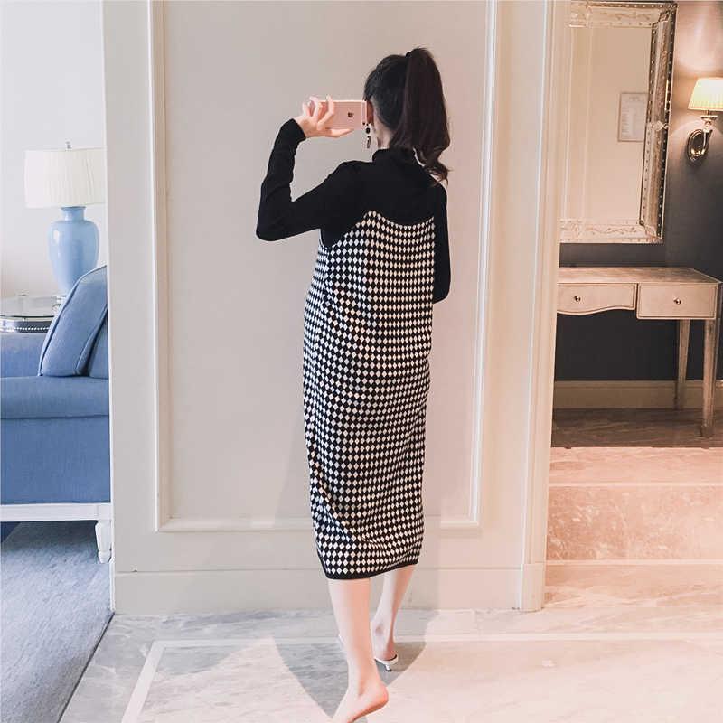 5060 #2 шт./компл. черные трикотажные рубашки для беременных + клетчатое платье на бретельках Осенняя корейская мода для беременных женщин